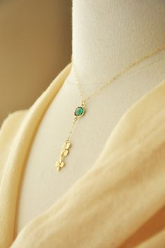 14k Gold Citrine November Birthstone Cursive Letter A Dog-tag Necklace