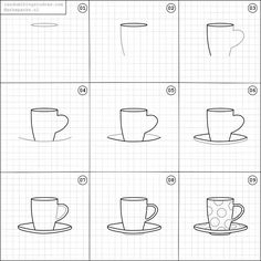How draw a coffee cup.