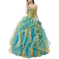78e167e1ae OnlyBridal Women s Multi Colors Quinceanera Dresses Ruffles Organza Long Prom  Dresses Cheap Quinceanera Dresses