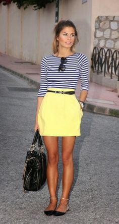 Yellow skirt and striped shirt fashion for ladies