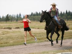 This is so me and my sister. She runs like crazy, and I've always told her that if I can bring Red (my horse) along, I'd run with her. Lol!