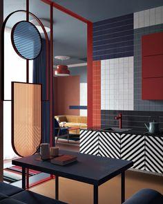 Color In Interior Design Model bright, bold colour blocking & geometric shapes | daria