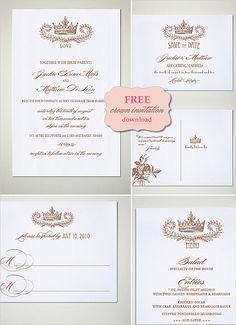 DIY, Do It Yourself, Crown Invitation Suite, save the date postcard, wedding invitation, response card, menu, wedding programs, download, crown