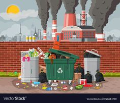 Plant smoking pipes garbage bin full trash vector image on VectorStock Flower Background Wallpaper, Flower Backgrounds, Picture Comprehension, Christmas Lights Background, Composition Art, Environmental Pollution, Cartoon Pics, Game Design, Painting Inspiration