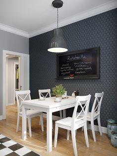 skandynawska kuchnia, czarno-białe płytki w kuchni,czarno-biała szachownica na podłodze w kuchni,szachownica na podłodze we wnętrzach,podłoga w szachownicę