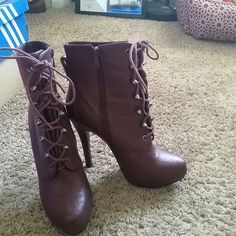 Bakers High Heels Womens burgundy bootie high heel. Size 9. Some wear but still look great! Shoestring has a minor rip but when tied up can barely notice.  Very fashionable heels. Bakers Shoes Heels