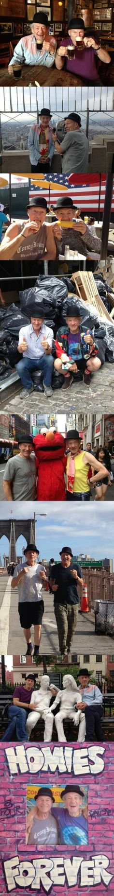 Patrick Stewart and Ian McKellen. Best buds and hip-hoppin' homies.