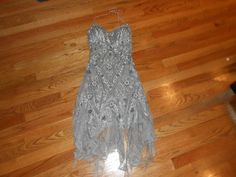 SUE Wong Grey Lace AND Beaded Cocktail Dress | eBay