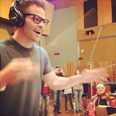 Chris Pine conducting the orchestra on the final day of Star Trek Into Darkness tracking. From Michael Giacchino's Instagram.