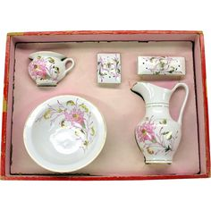 Antique dolls porcelain decorated wash basin set in original box from quirkyantiques on Ruby Lane