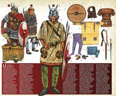 """Se trata de legionarios de los """"cornuti seniores"""" (auxilia palatina) en el siglo IV. La verdad es que yo tenía entendido que los """"cuernos"""" eran plumas y no elementos metálicos. Parece que dichos cascos aparecen en algún relieve como por ejemplo en el arco de Constantino. Aquí está la ilustración entera, con la explicación"""