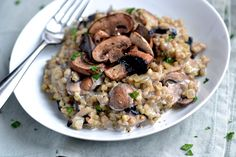 Buckwheat Risotto with Mushrooms & Hazelnut Cream
