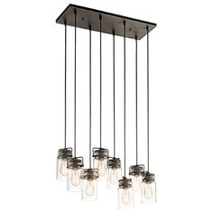 Buy the Kichler Olde Bronze Direct. Shop for the Kichler Olde Bronze Brinley 8 Light Wide Pendant with Canning Jar Style Shades and save. Linear Chandelier, Pendant Lighting, Light, Glass Shades, Glass, Multi Light Pendant, Chandelier, Clear Glass Jars, Chandelier Lighting