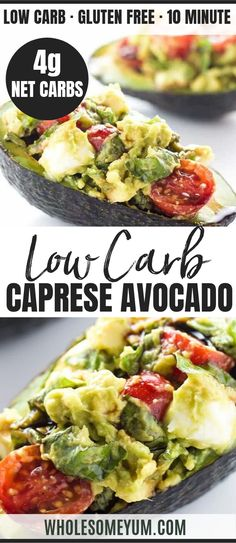 Caprese Stuffed Avocado Recipe (Low Carb, Gluten-Free) - This easy Caprese stuffed avocado recipe is healthy & delicious! It's so simple to make with common ingredients you probably have right now. Best Avocado Recipes, Bacon Recipes, Healthy Salad Recipes, Low Carb Recipes, Vegetarian Recipes, Vegetarian Cooking, Stuffed Avocado, Clean And Delicious, Salad Recipes For Dinner