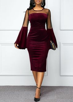 Flare Sleeve Round Neck Mesh Panel Velvet Dress Women Clothes For Cheap, Collections, Styles Perfectly Fit You, Never Miss It! Trendy Dresses, Tight Dresses, Women's Fashion Dresses, Dresses Dresses, Fashion Clothes, Dress Hairstyles, Necklines For Dresses, The Dress, Dress Long