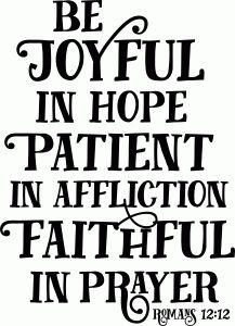 Silhouette Design Store - View Design #87605: bible phrase: be joyful patient faithful