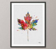 Maple Tree Leaf Watercolor illustrations Art Print by CocoMilla, $15.00