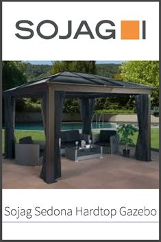 Once the warmer weather is here to stay, you and the fam will probably be wanting to spend more time in your back yard.  At times such as these, it's good to have a place to congregate, under some shade.  The Sojag Sedona is such a place.  Find out more about it in our full review!  #sojag #outdoorfun #backyardentertainment #gnomeology Pvc Panels, Roof Panels, Hardtop Gazebo, Backyard, Patio, Beach Chairs, Outdoor Fun, Windows And Doors, Shelter