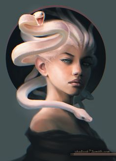 In Greek mythology, Medusa was a monster, a Gorgon, generally described as a winged human female with living venomous snakes in place of hair. Medusa Kunst, Medusa Art, Medusa Gorgon, Medusa Tattoo, Medusa Drawing, Medusa Painting, Character Portraits, Character Art, Fantasy Characters