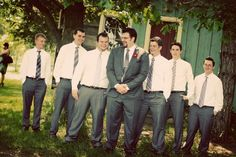 Groomsman's ties different patterns of same shades