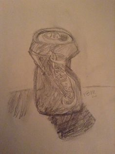 Sorry I haven't posted anything in forever! Here's a failed attempt at a still life of a crushed coke can. Any tips would be much appreciated! :) (@ohmistymountain) **Also I shadowed it horribly, I know**