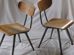 Vintage Children's School Chairs - Set of Two Retro Furniture, Shabby Chic Furniture, Bedroom Furniture, School Chairs, Vintage Chairs, Kid Spaces, Vintage Children, Kids Room, Dining Chairs