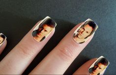 CW's Supernatural's Sam Winchester ( Jared Padalecki ) and Dean Winchester (Jensen Ackles ) airbrushed on some fake nails. Click on the picture and follow the link to get your own. Supernatural Nails, Supernatural Sam Winchester, Sam And Dean Winchester, Sam Dean, Jared Padalecki, Jensen Ackles, House Rules, Shotgun, Nail Care
