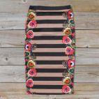 Flowering Cactus Pencil Skirt, Women's Sweet Bohemian Clothing