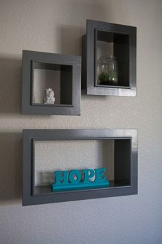 Painted shadow shelves for the living room