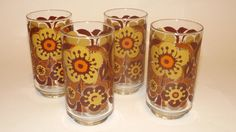 Vintage / Retro Libbey Flower Drinking Glasses by FourthEstateSale, $16.50