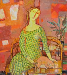 Tatiana Gorshunova - Woman with a cat, 2007