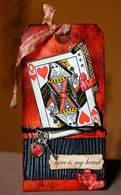 Here is my take on Tim's queen of hearts tag . Atc Cards, Card Tags, Gift Tags, Handmade Tags, Tag Design, Paper Tags, Vintage Tags, Artist Trading Cards, Valentine Crafts