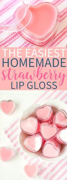 DIY Strawberry Lip Gloss – That's What {Che} Said. DIY Strawberry Lip Gloss is perfect for kissable lips! Cute Valentine treat in these fun heart containers. This whips up in minutes and tastes & smells great! Diy Lip Scrub, Lip Scrub Homemade, Diy Lip Balm, Homemade Moisturizer, Lip Gloss Homemade, Strawberry Lip Balm, Strawberry Recipes, Diy Beauté, Diy Lip Gloss