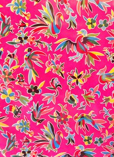 This pink colorful bird oilcloth is perfect for your future projects! Made in Mexico. Shop Mexican oilcloth by the yard online.