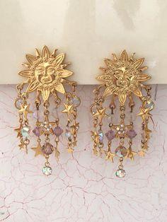Kirks Folly Earrings Sun Stars Earrings Clip On by MicheleACaron