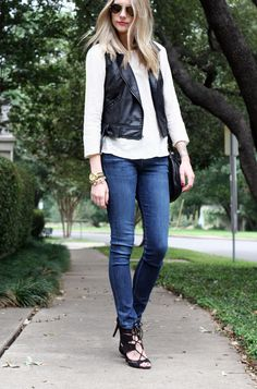 Black leather vest, white boat neck long sleeve top, dark denim skinny jeans and strappy sandals Black Leather Vest, Leather And Lace, Black Vest, Denim And Lace, Denim Top, Dark Denim, Nyc Fashion, Denim Fashion, New Outfits