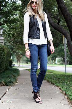 Black leather vest, white boat neck long sleeve top, dark denim skinny jeans and strappy sandals Leather Vest Outfit, Black Leather Vest, Leather And Lace, Black Vest, Denim And Lace, Denim Top, Dark Denim, Nyc Fashion, Denim Fashion