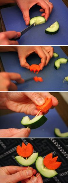 Make Veggie Flowers  #healthy #vegetables #kids #spring