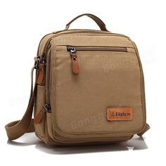 Ekphero(TM) Multifuctional Casual Genuine Leather Cotton Canvas IPad Shoulder Cr - US$33.35