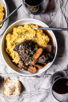 Red Wine Braised Short Ribs with Parmesan Pumpkin Risotto - Ajib Recipe 4 Super Healthy Recipes, Healthy Foods To Eat, Healthy Dinner Recipes, Healthy Kids, Slow Cooker Recipes, Crockpot Recipes, Pumpkin Risotto, Braised Short Ribs, Herd