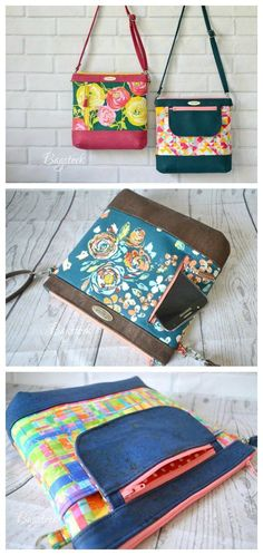Here is the very beautiful Jasmine Sling Bag which is the perfect bag for all your daily needs. Handbag Patterns, Bag Patterns To Sew, Sewing Patterns, Diy Couture, Sewing Leather, Sewing Jeans, Diy Purse, Fabric Bags, Fabric Basket