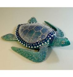 Blue Turtle XL - French ceramic from Vallauris with touch of silicon and strass. #turtle #ceramics
