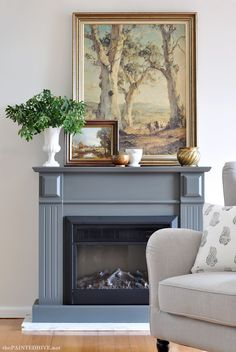 Love this woman's vision and style. —Fireplace Makeover After   The Painted Hive