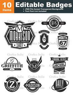 Retro Blank Badge / Logo Templates - 10 Graphic Designs Editable Text Clipart…