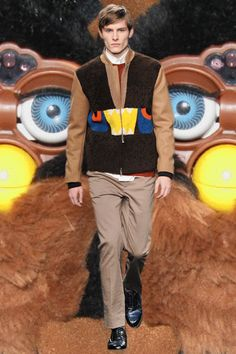 Fur, leather and monster shearling jackets at Fendi AW14. More images here: http://www.dazeddigital.com/fashion/article/18442/1/milan-aw14-gifs