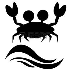 Abstract Crab Silhouette And Two Black Waves On White Background ...