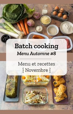 Batch cooking Automne Batch cooking (menu and recipes) for the week from 11 to 15 November 2019 Vegetarian Crockpot Recipes, Easy Meat Recipes, Dinner Recipes, Easy Meals, Baking Recipes, Crockpot Meat, Dinner Crockpot, Vegan Vegetarian, Batch Cooking