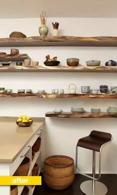 """We were recently sent photos of a lovely kitchen renovation on New York's Upper West Side.The husband and wife — a retired couple on a budget — wanted a new kitchen to accommodate their love for cooking and enable them to display a few treasured heirloom pottery pieces. They also wanted to find a prettier way to deal with """"their habit of leaving things out in the open.""""The result is a soothing, neutral color palette, four stunning (and heavy) shelves, anda place to put everything!"""