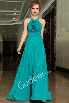 Teal 3D Floral Bodice Sleeveless A-line Long Evening Formal Dress