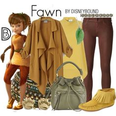 Fawn by leslieakay on Polyvore featuring Closet, Koral, Bettye Muller, Sanctuary, NAKAMOL, Deepa Gurnani, disney, disneybound and disneycharacter
